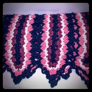 Vintage Crocheted Colors Afghan Throw Blanket
